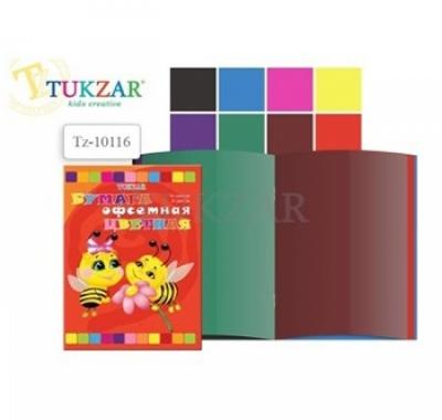Цветная бумага А4 16л 8цв Tukzar , на скобе