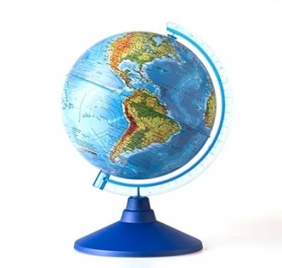 Глобус Globen Земли Физический  Классик Евро, подставка пластиковая голубая