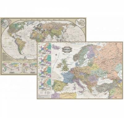 Карта настольная Мира Политический и Европа Ретро стиль