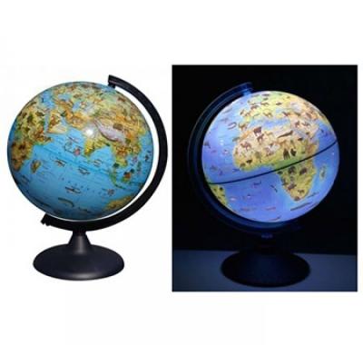 Глобус Globen Земли Зоогеографический 250мм с подсветкой детский, Классик Евро