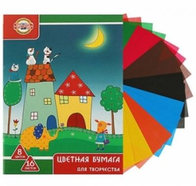 Цветная бумага Koh-i-Noor А4 16л 8цв