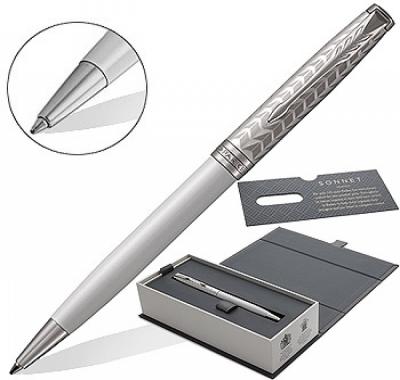 Ручка подарочная перьевая Parker Sonnet Premium K540 Metal & Pearl PGT черная 0,7мм, поворотный механизм