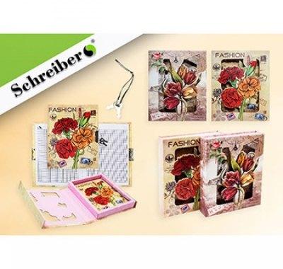 Записная книжка A6 на замочке 7БЦ 50л Schreiber Цветы (ассорти)