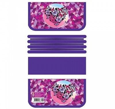 Пенал Пчелка ПО-611 3 отделения 105*190*30мм, Фиолетовые бабочки