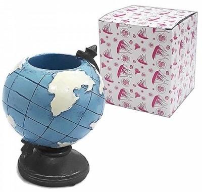 Сувенир KWELT Глобус- подставка под пишущие предметы 12см, полистоун