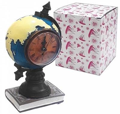 Сувенир-копилка KWELT Глобус с часами 19см, батарейка АА (в комплект не входит), с резиновой заглушкой, полистоун