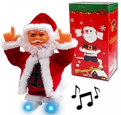 Дед Мороз KWELT музыкальная 20см, питание от 3 батареек ААА