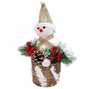 Сувенир новогодний KWELT Снеговик на пеньке 26см