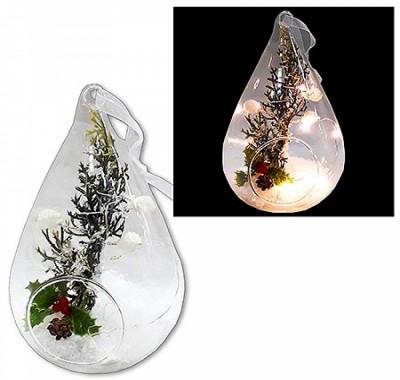 Сувенир новогодний KWELT светящийся Зимняя капля с наполнением 15см
