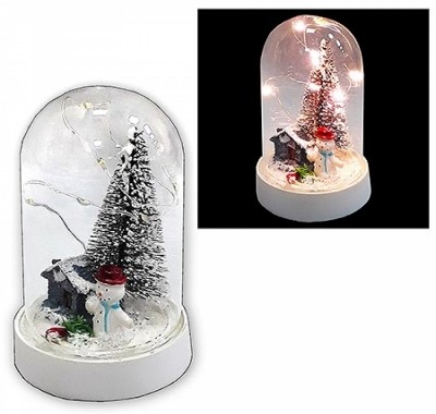 Снеговик в колбе KWELT светящийся 11см, батарейки в комплекте
