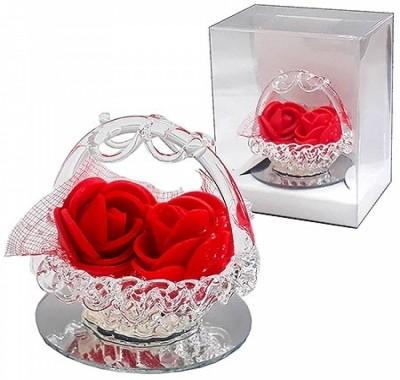 Сувенир KWELT Розочки в корзинке 5см, пластиковая упаковка