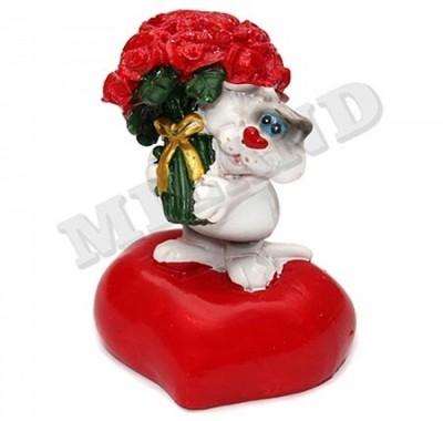 Сувенир-фигурка Миленд Валентин-Котик с букетом цветов