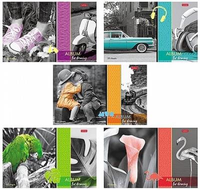 Альбом А4 20л Hatber Изысканность цвета (ассорти), на скобе