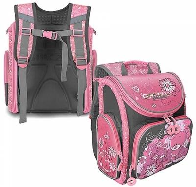 Ранец Grizzly 34*37*18см серо-розовый