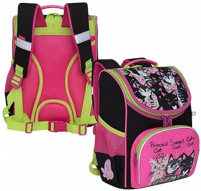 Рюкзак Grizzly 25*33*13см, черный-розовый