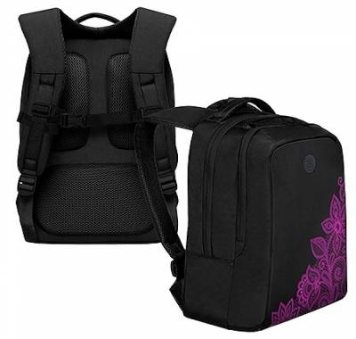 Рюкзак Grizzly 26*39*17см черный-фиолетовый