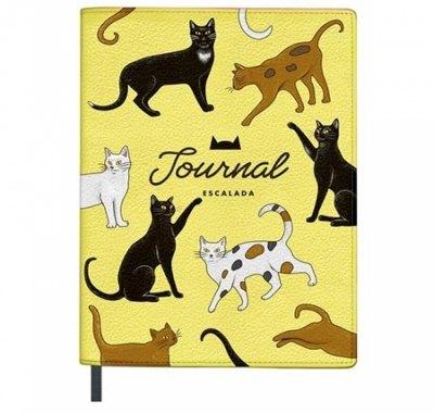 Записная книжка А5+ искусственная кожа 120л Феникс Escalada Коты