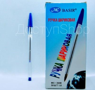 Ручка шариковая Basir синяя 1,0мм прозрачный корпус