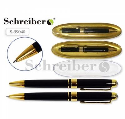 Ручка шариковая Schreiber, цвет корпуса черный с золотом