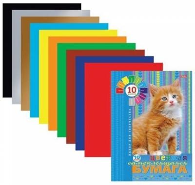 Бумага цветная А4 самоклеющаяся 10л 10цв Hatber Пушистый котенок