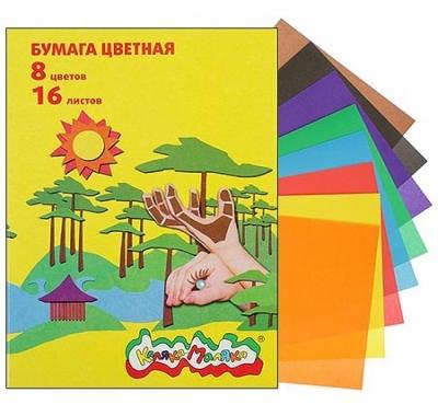 Бумага цветная А4 16л 8цв Каляка-Маляка, линейка