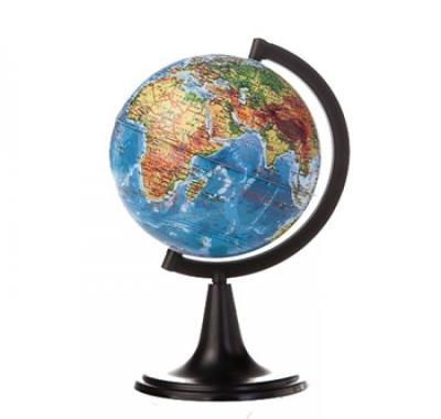 Глобус Globen Земли Физический Классик, подставка пластиковая черная