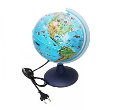 Глобус Globen Земли Зоогеографический 210мм с подсветкой детский, Классик Евро