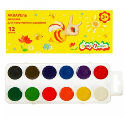 Акварель Каляка-Маляка  12 цветов, без кисти, картонная упаковка