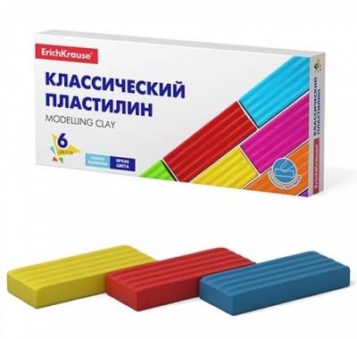 Пластилин Erich Krause Basic (классический) 96г 6цв, со стеком, картонная упаковка